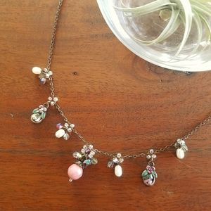 Aurora Pink Opal Pearl Gemstone Charm Necklace